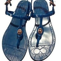 COACH Pier Shiny Teal Jelly Flat (0 to 1/2 in) Rubber Sandal 5B (B, M)
