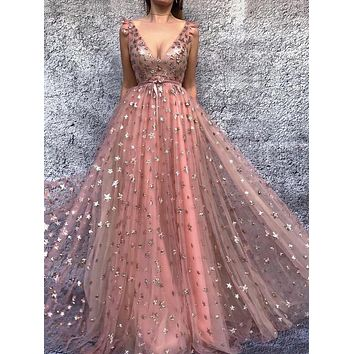 Pink V Neck Prom Dress Stars Tulle Cocktail Ball Gown Sweetheart Evening Dress