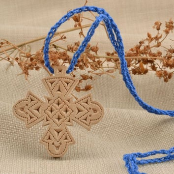 Handmade wooden cross necklace with carving crucifix pendant personal amulet