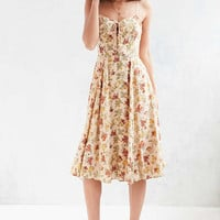 Urban Outfitters Georgia May Yellow Floral Lace-Up Midi Dress - Urban Outfitters
