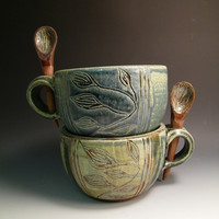 $32.00 Soup Things Up Soup Bowl or Latte Mug With by LorettaWrayPottery
