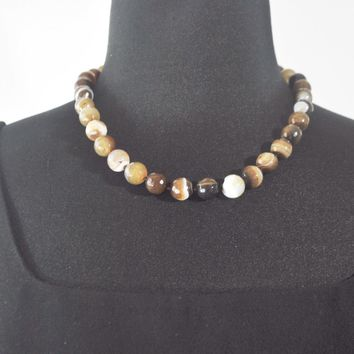Natural Onyx Stripe Agate Beaded Necklace