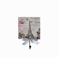 Tour Eiffel shabby wooden wall decorative hanger. Wall hanging with metal hook. Key holder. Shabby chic home décor. Decoupage