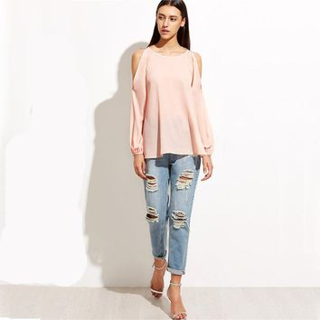 Cold Shoulder Blouses Women Pink Raglan Sleeve Casual Sexy Summer Tops New Fashion Cute Basic Cut Out Blouse