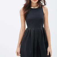 Pleated Faux Leather Dress