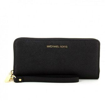 Michael Kors Jet Set Travel Leather Continental Wallet Black