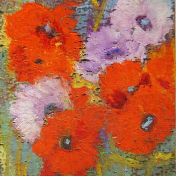 Original ACEO - Miniature art trading card, original ATC painting, 2.5 by 3.5 in - Poppy Melange 2 oil pastel floral painting, SFA Miniature