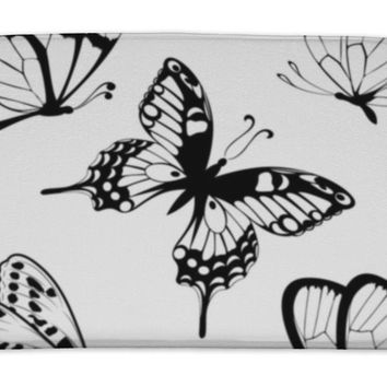 Bath Mat, Set Black White Butterflies Of A Tattoo