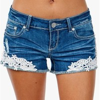 A'GACI Crochet Side Cut Off Short - BOTTOMS