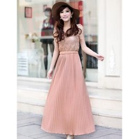 Lace Chiffon Pleated Dress Pink - Designer Shoes|Bqueenshoes.com