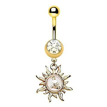 Gold Plated Sunburst Dangle WildKlass Navel Ring with Gold Flakes