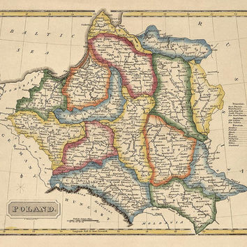 Antique Map of Poland (c1817) by Fielding Lucas - Archival Reproduction