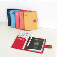 New Fashion Cute 6 Colors Air Travel Passport Cover Case Card Holder Leather Wallet