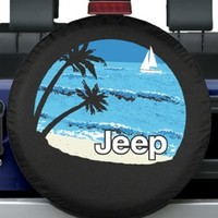 "32-33"" Premium Jeep Tire Cover - Beach Design -"