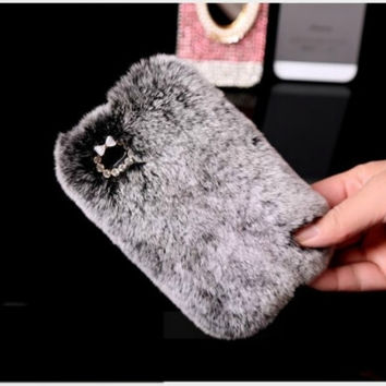 Bling Crystal Fur Furry Case Cover iPhone 5 5G 5S Gray