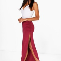Tamsin Ruched Side Jersey Maxi Skirt | Boohoo