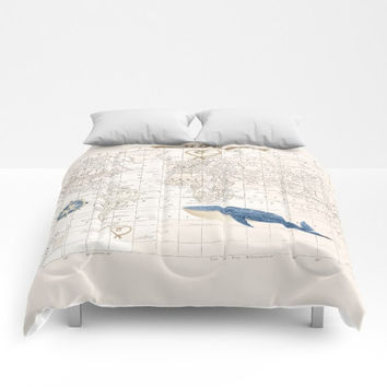 World Map with Whale  Duvet Cover or Comforter - bed - bedroom, travel decor, cozy soft, blue and cream coastal, seashore, warm, nautical