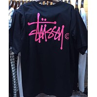 Stussy Men Fashion Letter Print Casual Short Sleeve T-Shirt