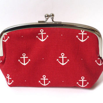 Gadget pouch - Red and white cotton nautical anchor fabric