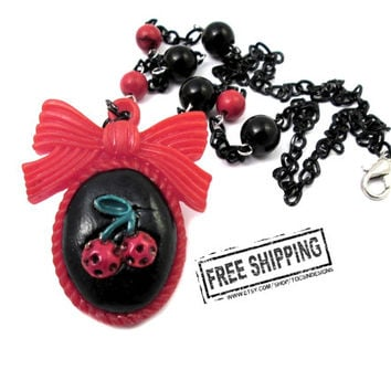 Retro Pinup Rockabilly cherry necklace