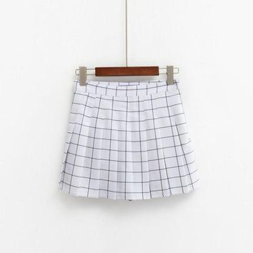 MDIGCI7 2017 Women's Kawaii AA High Waist Plaid Pleated Skirt Female British Preppy Retro Style Harajuku Cute Skirts For Women