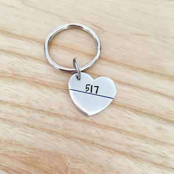 Police wife - Police Academy Graduation Gift -  Personalized Badge Number Keychain - Hand Stamped Police Wife Gift - Badge Number Heart