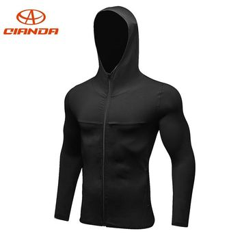 QIANDA Quick Dry Hooded Running Jacket Men Long Sleeve Breathable Sportswear Man Fitness Gym Shirts Jogging Sport Jackets