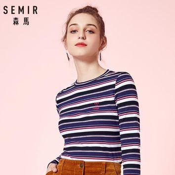 SEMIR Knitwear t-shirt for Women 2018 Autumn Slim Cotton Female tshirt long sleeve women Round Neck Thin Tops Stripes Clothes