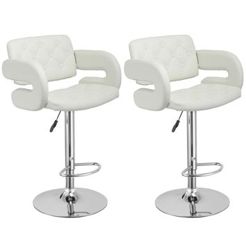 Set of 2 PU Leather Swivel Bar Stools Hydraulic Pub Chair Adjustable White New