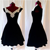 1980s Zum Zum Black Velvet and Lace Prom Dress