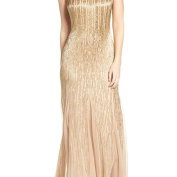 Adrianna Papell - AP1E200530 Beaded Mesh Trumpet Gown