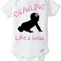 "Funny baby Onesuit girl gift idea: ""Crawling - Like a Boss"" new baby / new parent / baby shower gift / pink & black - crawling baby girl"