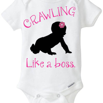 """Funny baby Onesuit girl gift idea: """"Crawling - Like a Boss"""" new baby / new parent / baby shower gift / pink & black - crawling baby girl"""