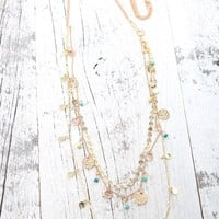 With Love From CA Coin & Beaded Long Layered Necklace - Womens Jewelry - Multi - One