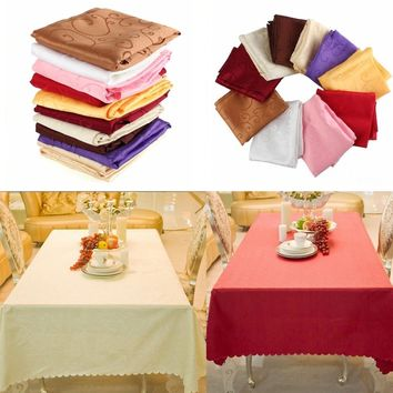 1.2m Square Table Cover Tablecloth Pattern Wedding Banquet Party Polyester Linen Home Resturant Hotel