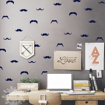 Mustache Wall Decal / 60 Mustache Set / Mustache Sticker / Little Man Wall Decal / Boys Room decor