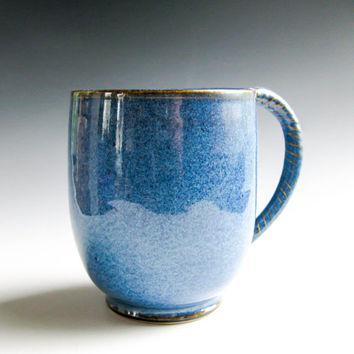 Denim Blue Mug, Handmade Coffee Cup, Ceramic Coffee Mug, Father's Day Gift, Large Stoneware Mug