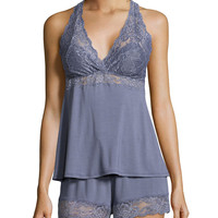 Whispers of Love Lace-Inset Pajama Set, Blue Granite, Size:
