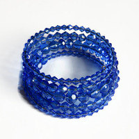 Memory Wire Blue Bracelet, Glass Beads Beaded Wrap Cuff Bracelet, Summer Accessories, Beadwork