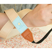 "Alice leather camera strap 1.2"" in two tone Beige and Mint"