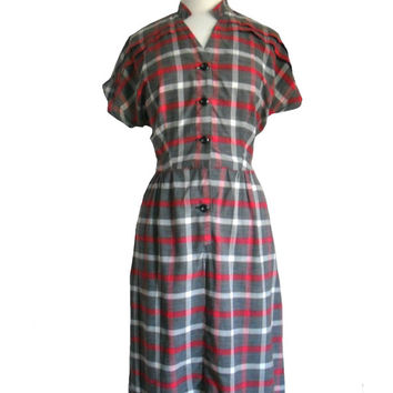Vintage 1950s Shirt Dress Plaid Print Gray White and Red Stripes Short Sleeves Thin Summer Dress Mandarin Collar  Glenbury by Huntington M/L