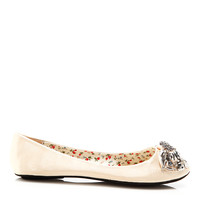Embellished Bow Patent Leather Flats