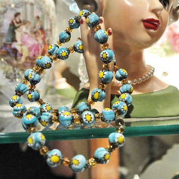 Venetian Necklace Murano Millefiori 1940s Antique Necklace Art Glass Hand Rolled Bead Beaded Necklace Italian Italy High Fashion Wedding