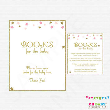 Twinkle Twinkle Little Star, Bring a Book Instead of Card, Pink Gold Baby Shower, Book Request, Girl Baby Shower, Printable Baby Shower STPG