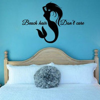 Mermaid Beach Hair Don't Care Wall Decal Sticker