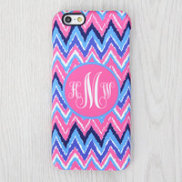 Chevron Monogram iPhone 6 Case iPhone 6 plus Case Custom Initial iPhone 5S Case iPhone 5C Case iPhone 4S Case PinkBlue Galaxy S6 S5 Case 059