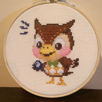 Animal Crossing - framed Blathers cross stitch