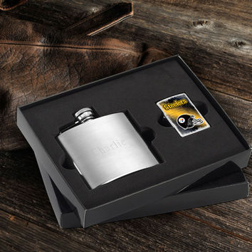 Personalized NFL Lighter and Brushed Flask Gift Set - Steelers