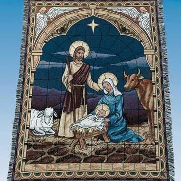 "Stained Glass Nativity Tapestry - Approximate Measurements: 50 ""  X 60 """