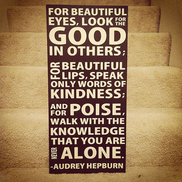 Audrey Hepburn Quote 12x24 Wood Sign